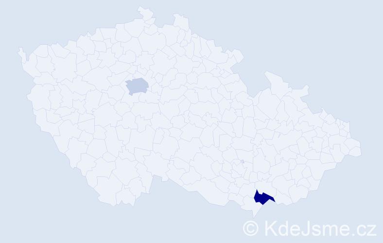 Příjmení: 'Dubeková', počet výskytů 2 v celé ČR