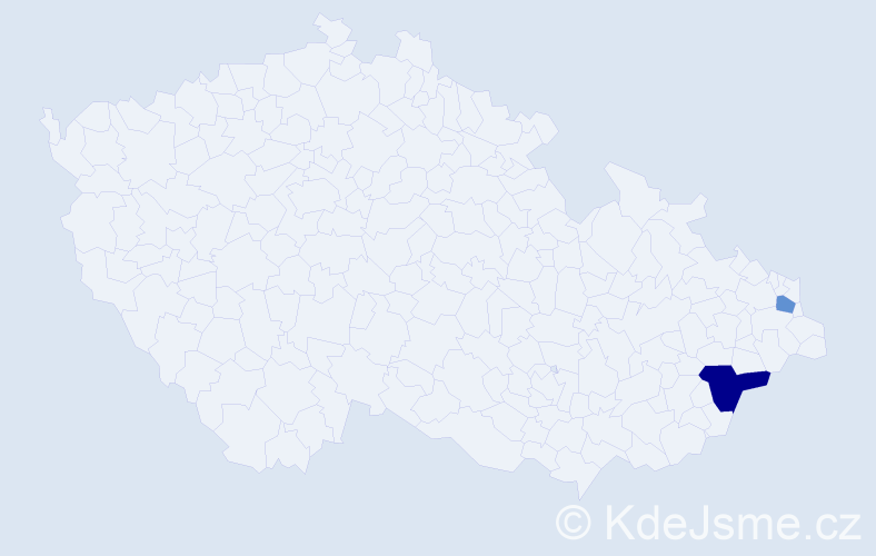 Příjmení: 'Bat', počet výskytů 3 v celé ČR