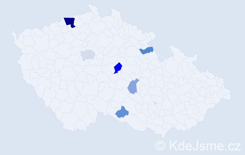 Příjmení: 'Kvasňa', počet výskytů 18 v celé ČR