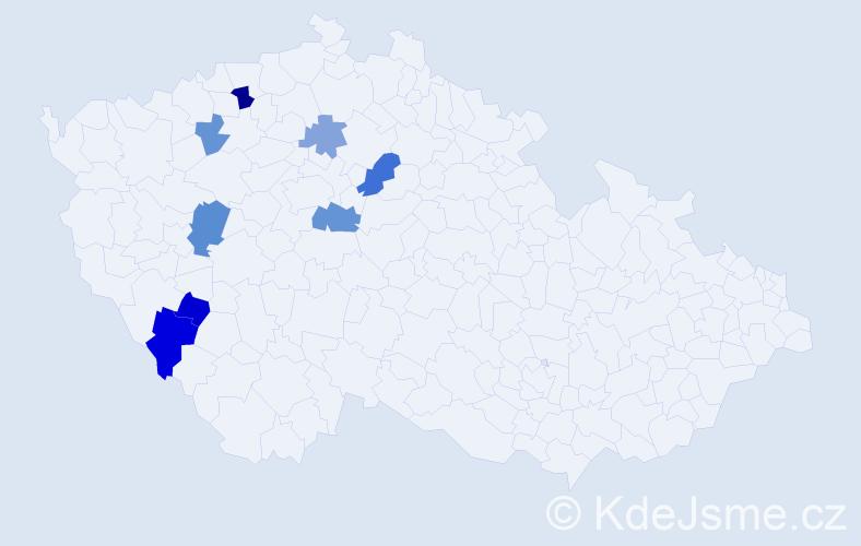 Příjmení: 'Chotousová', počet výskytů 13 v celé ČR