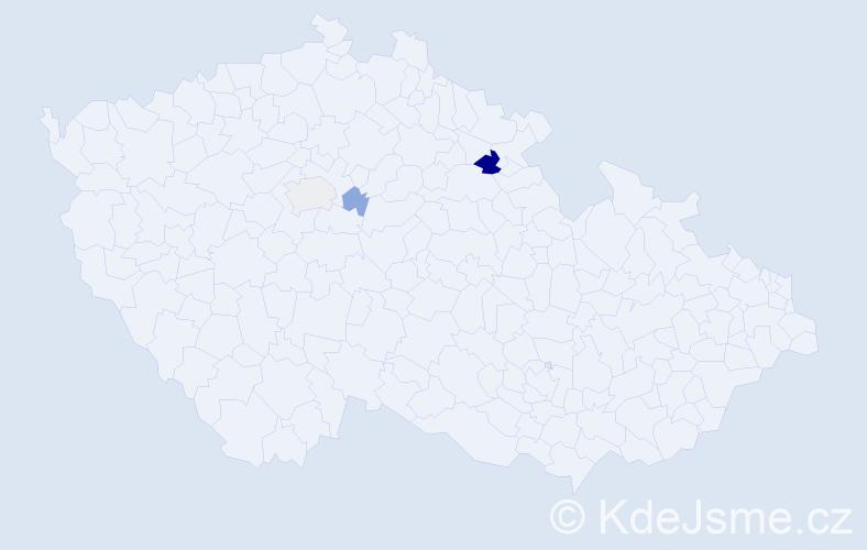 Příjmení: 'Kligr', počet výskytů 7 v celé ČR