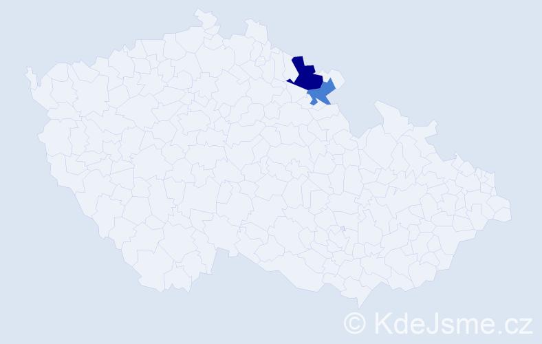 Příjmení: 'Konfederák', počet výskytů 3 v celé ČR