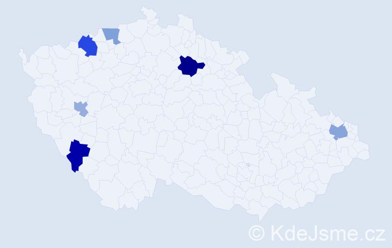 Příjmení: 'Jáno', počet výskytů 9 v celé ČR