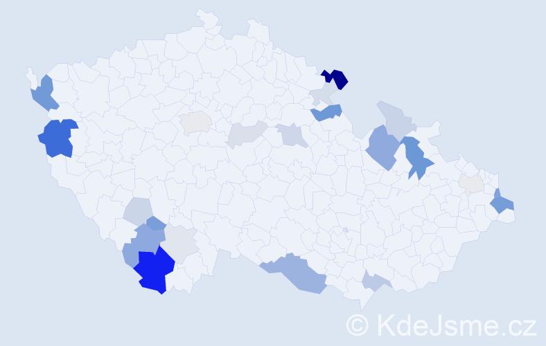 Příjmení: 'Fatura', počet výskytů 62 v celé ČR