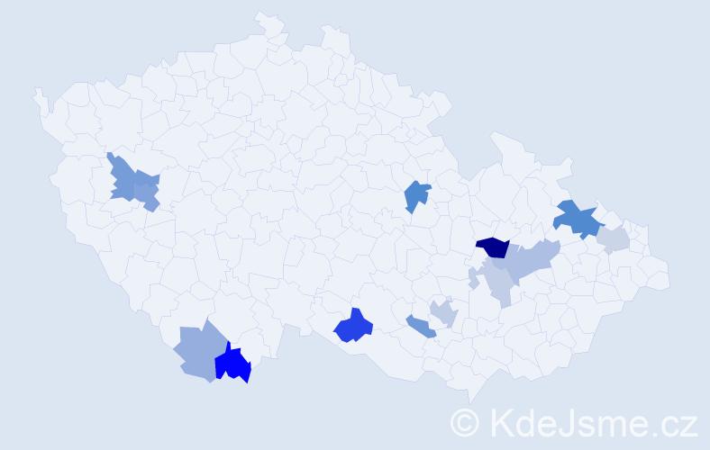 Příjmení: 'Grambal', počet výskytů 30 v celé ČR