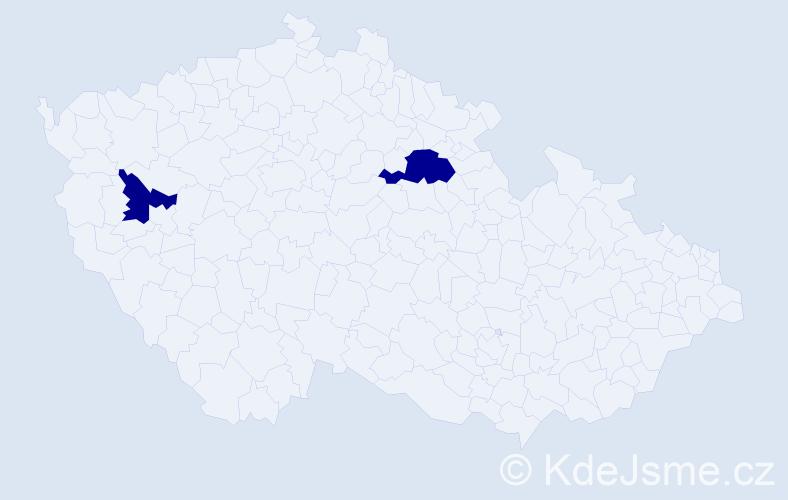 """Příjmení: '""""De Bruin""""', počet výskytů 3 v celé ČR"""
