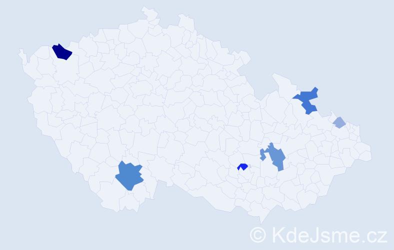Příjmení: 'Hrádelová', počet výskytů 21 v celé ČR