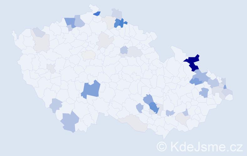 Příjmení: 'Bikár', počet výskytů 188 v celé ČR