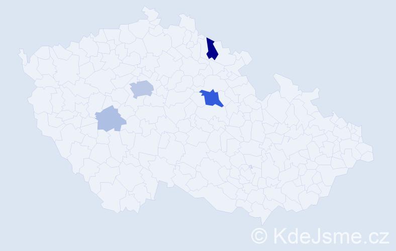 Příjmení: 'Buderová', počet výskytů 18 v celé ČR