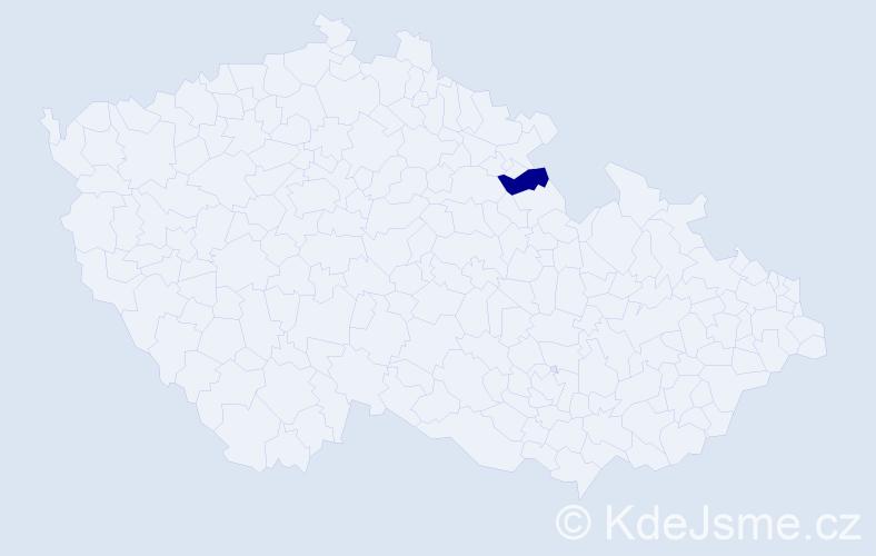 """Příjmení: '""""Ďurčeková Kašparová""""', počet výskytů 1 v celé ČR"""