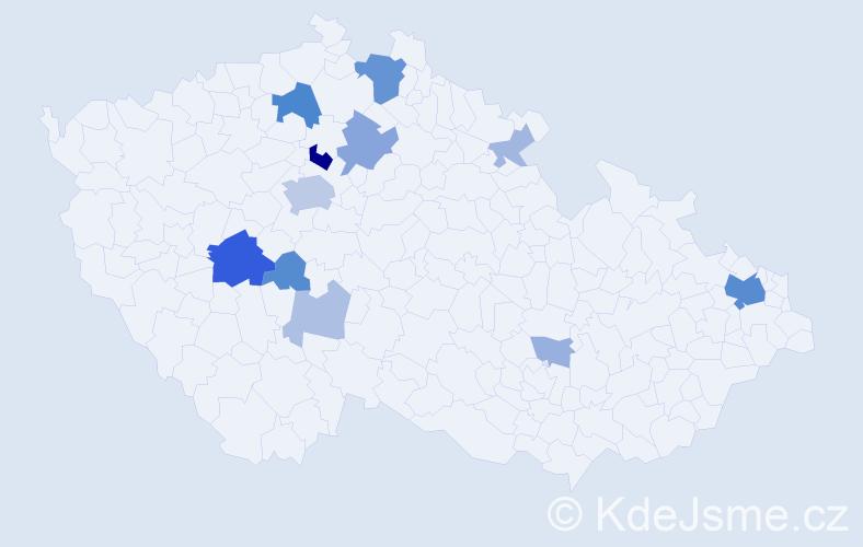 Příjmení: 'Kiršner', počet výskytů 36 v celé ČR