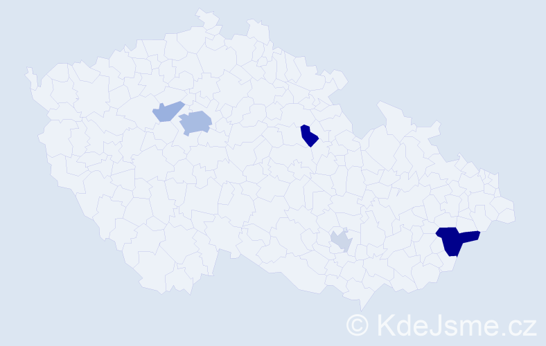 Příjmení: 'Jakerle', počet výskytů 13 v celé ČR