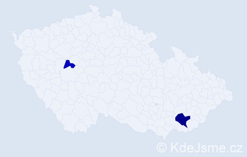 Příjmení: 'Haj', počet výskytů 4 v celé ČR