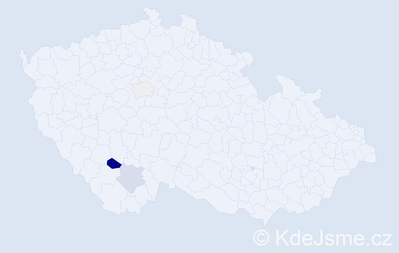 Příjmení: 'Gribáčová', počet výskytů 4 v celé ČR