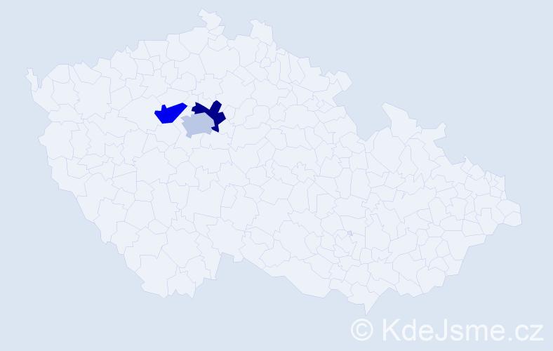 Příjmení: 'Angiu', počet výskytů 3 v celé ČR