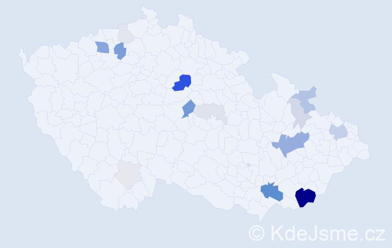 Příjmení: 'Čubíková', počet výskytů 69 v celé ČR