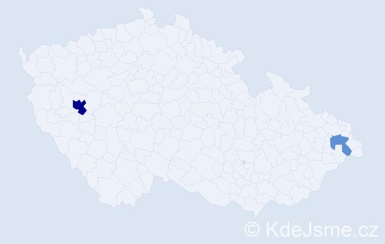 Příjmení: 'Anetta', počet výskytů 9 v celé ČR