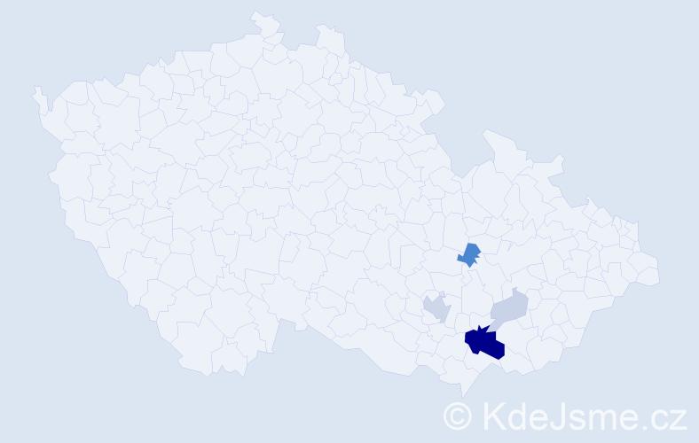 Příjmení: 'Bochýnek', počet výskytů 15 v celé ČR