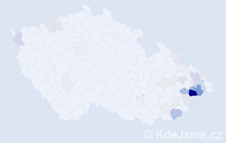 Příjmení: 'Děcký', počet výskytů 130 v celé ČR