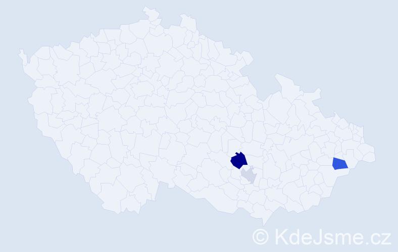 Příjmení: 'Hamingerová', počet výskytů 9 v celé ČR