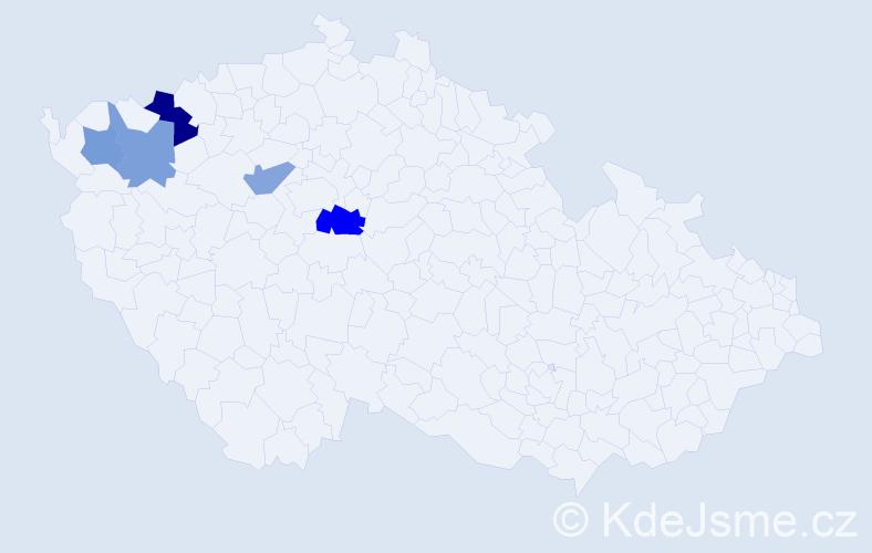 Příjmení: 'Ladenbergerová', počet výskytů 7 v celé ČR