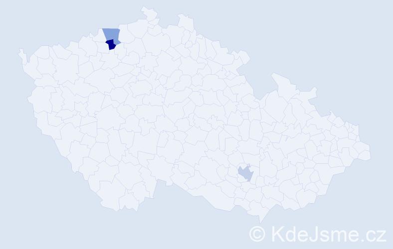 Příjmení: 'Hrižová', počet výskytů 3 v celé ČR