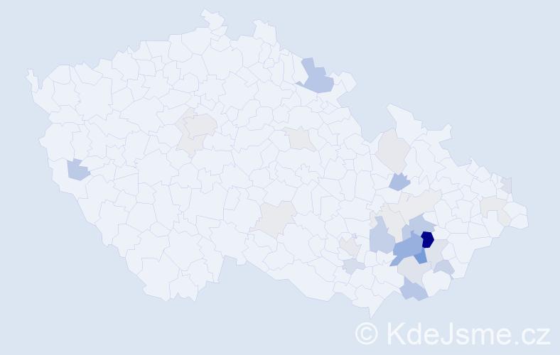 Příjmení: 'Bakalík', počet výskytů 74 v celé ČR