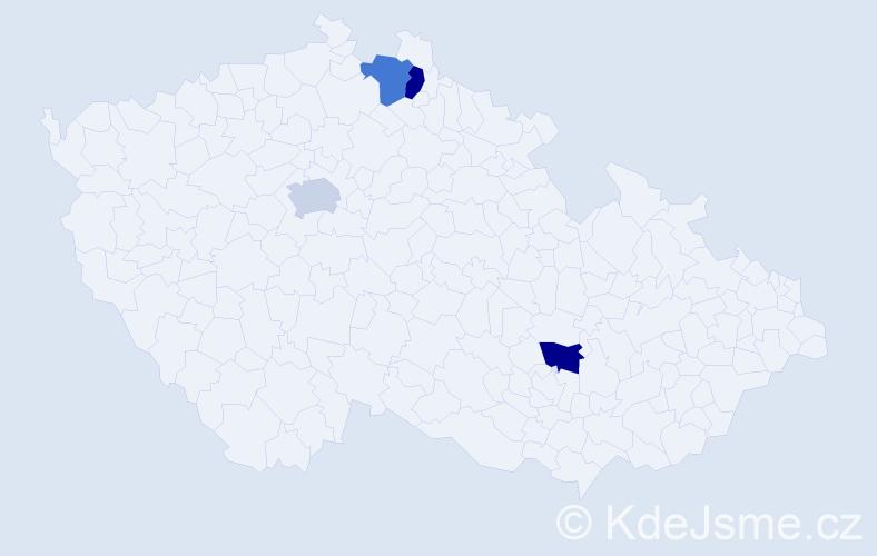 Příjmení: 'Čuttová', počet výskytů 4 v celé ČR