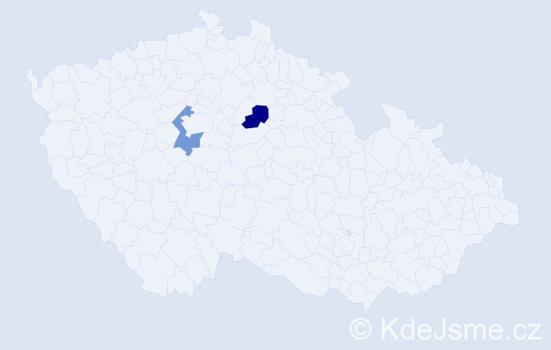 """Příjmení: '""""Le Feuvre""""', počet výskytů 2 v celé ČR"""
