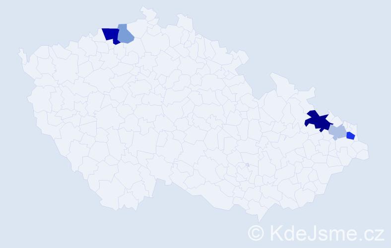 Příjmení: 'Čekalská', počet výskytů 10 v celé ČR