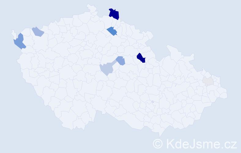 Příjmení: 'Dunajčík', počet výskytů 20 v celé ČR