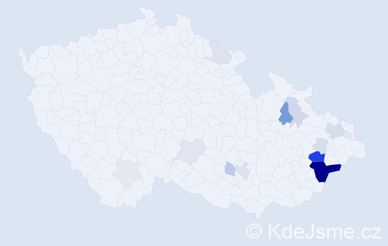 Příjmení: 'Hořanský', počet výskytů 54 v celé ČR