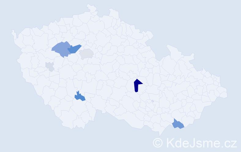 Příjmení: 'Habrcetl', počet výskytů 19 v celé ČR