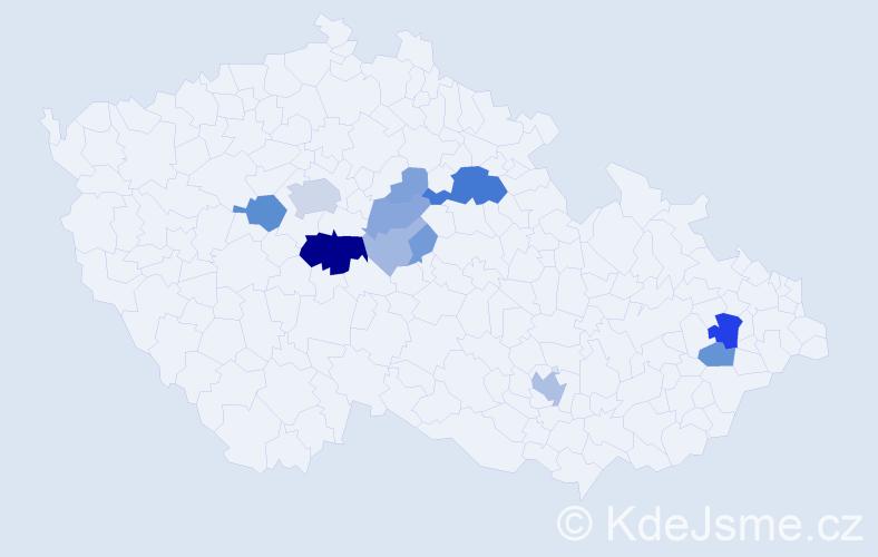 Příjmení: 'Církva', počet výskytů 38 v celé ČR