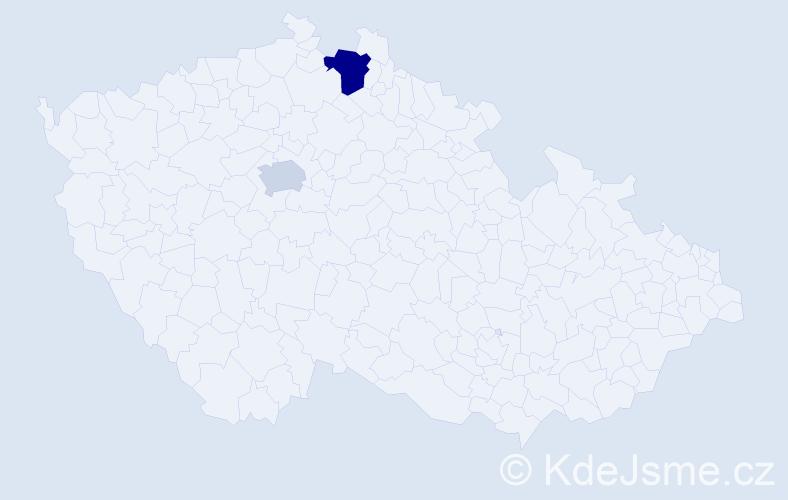 Příjmení: 'Ďakuličová', počet výskytů 6 v celé ČR