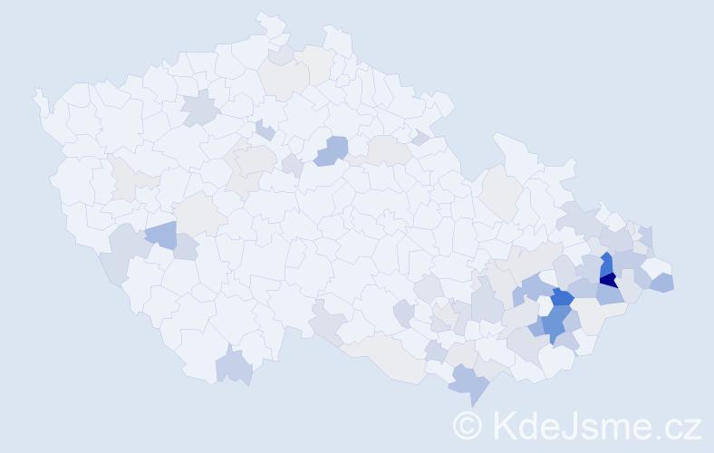 Příjmení: 'Gajdušek', počet výskytů 264 v celé ČR
