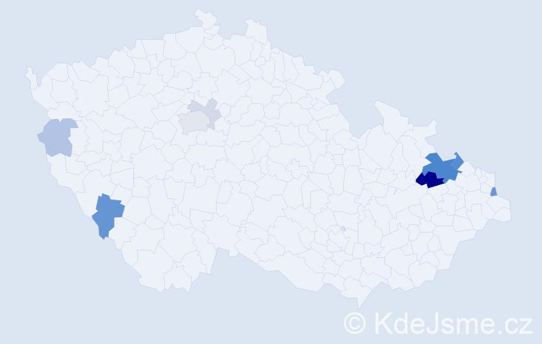 Příjmení: 'Hýbel', počet výskytů 24 v celé ČR