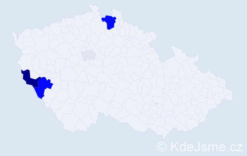 Příjmení: 'Cipera', počet výskytů 9 v celé ČR
