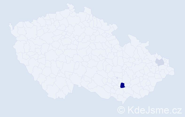 Příjmení: 'Karidu', počet výskytů 5 v celé ČR