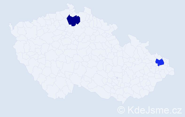 Příjmení: 'Emig', počet výskytů 3 v celé ČR