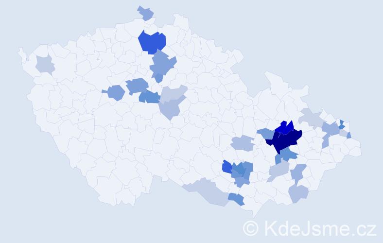 Příjmení: 'Černoušková', počet výskytů 109 v celé ČR