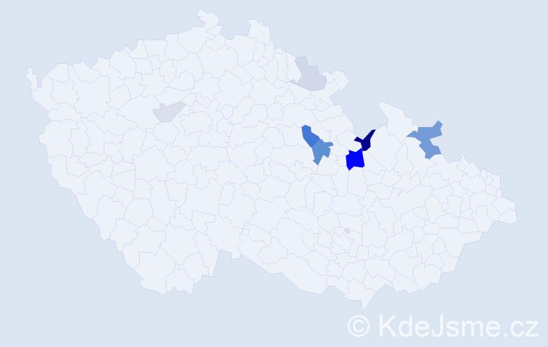 Příjmení: 'Kolenyak', počet výskytů 16 v celé ČR
