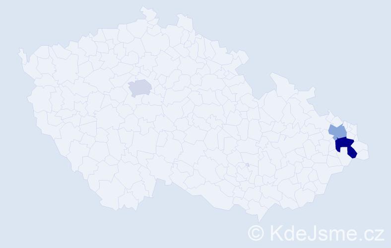 Příjmení: 'Cignová', počet výskytů 4 v celé ČR