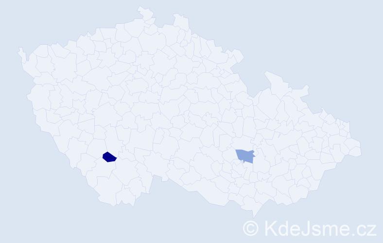 Příjmení: 'Eningerová', počet výskytů 2 v celé ČR