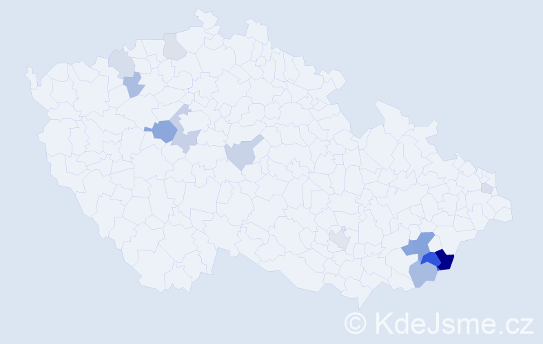 Příjmení: 'Belhová', počet výskytů 30 v celé ČR