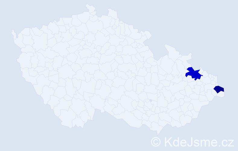 Příjmení: 'Kodousek', počet výskytů 7 v celé ČR