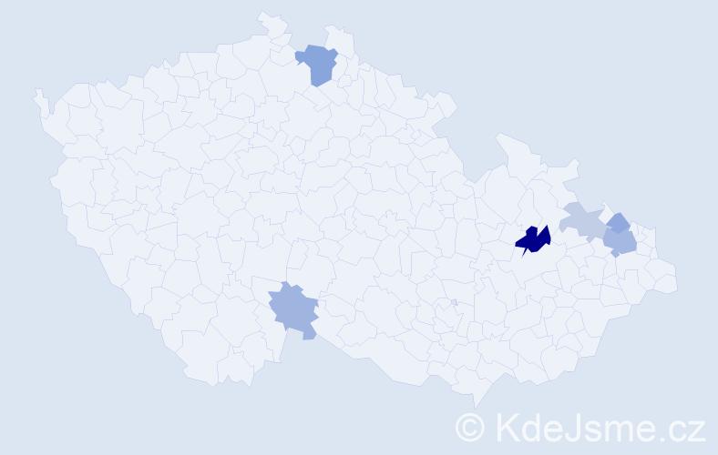 Příjmení: 'Gébl', počet výskytů 13 v celé ČR