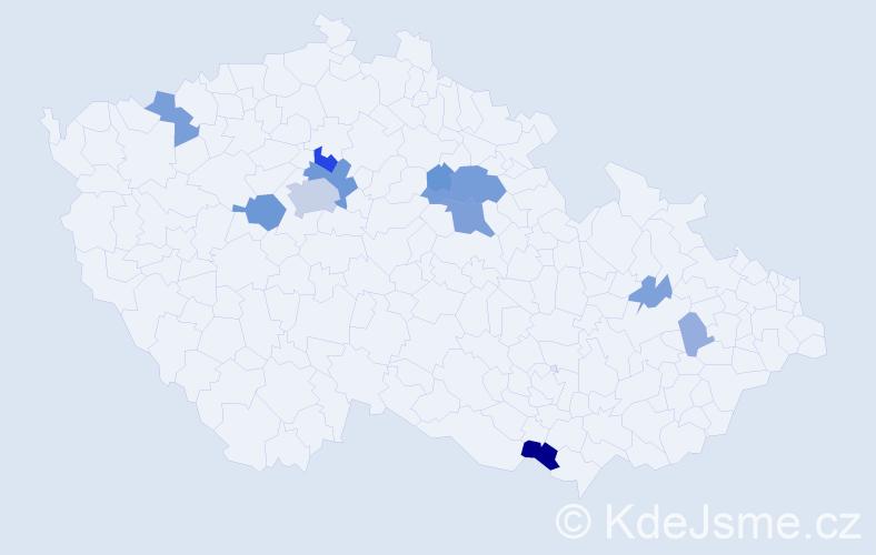 Příjmení: 'Duha', počet výskytů 36 v celé ČR