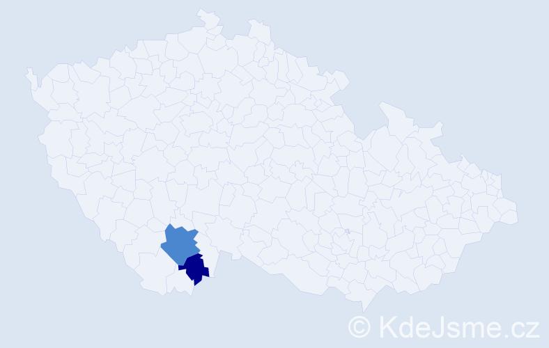 Příjmení: 'Ižof', počet výskytů 4 v celé ČR