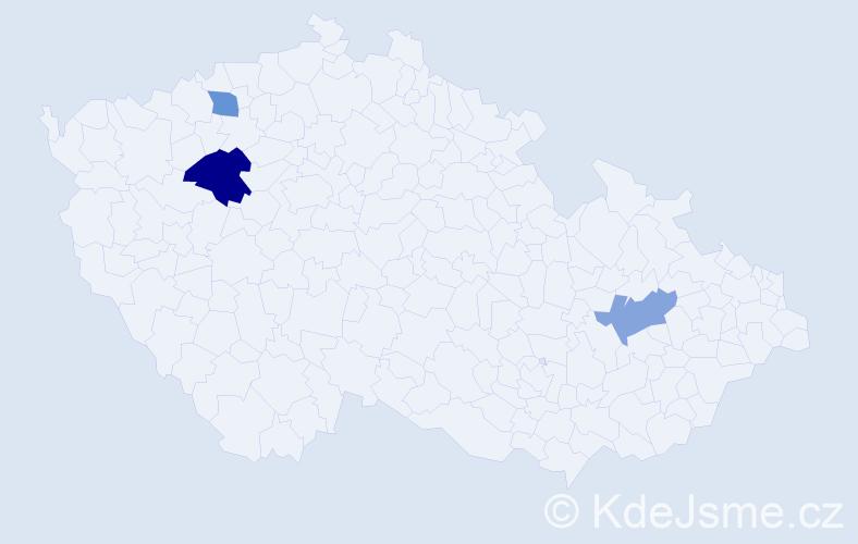 Příjmení: 'Čemez', počet výskytů 4 v celé ČR
